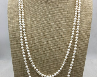 59''  5mm potato pearl Necklace,white Pearl necklace,Wedding Necklace, Love, Mothers Day,Happiness,wholesale,NPN1-068