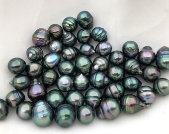bb15a596a 8-11mm PEACOCK Color Drop Tahitian Pearl,1pcs,Select Size,Christmas gift, wholesale,TH10-3A-3-3