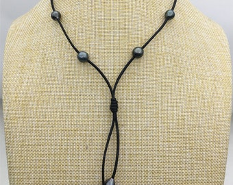 real tahitian pearl floating drop part leather Necklace,black,brown Leather color Pearl necklace, Leather pearl necklace,Le11-029