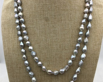 49 inches A 8-9mm gray nugget pearl Necklace,Wedding Necklace,Mothers Day,Happiness,wholesale,NPN1-067