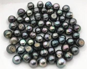 10pcs 10-11mm peacock cutting tahitian pearl,natural color,for make tahitian pearl ring pendant,TH8-3A-3-9