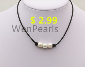 e88da94f Three pearl Leather Pearls choker necklace - 10mm near round pearl -  Genuine freshwater pearl - Real leather - wen pearls - Le4-003