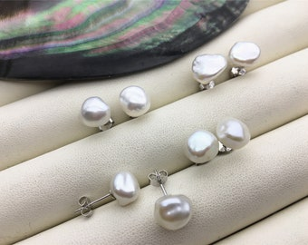High Luster!AAA 9-10mm Natural white keshi Freshwater Pearl Stud Earrings,Stud Earrings for Women Girls,SE3-019
