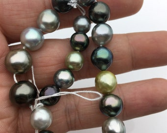 8inches 8.6-11.2mm near round misc color Tahitian Pearl,Polynesia Pearl,Genuine Tahitian Pearl Necklace,natural color,TH9-3A-16-12-7