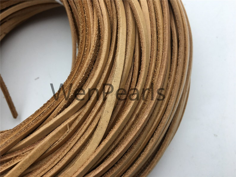3-4mmx2mm Flat Tan Color Leather Cord,Select Length,Wholesale Jewelry Supplies,Distressed Matte Finish,LC3-200