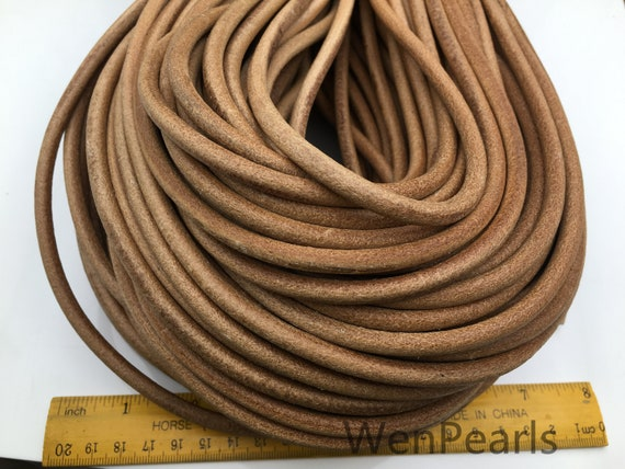 3mm leather genuine round lace genuine round cord leather 3mm 1,3,5 yards.