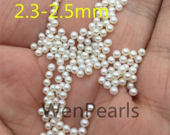 AAA 2.3-2.5mm white round seed freshwater pearls,half hole,tiny pearl supply,good quality,no hole,half drilled,through hole,RP2-3A-1
