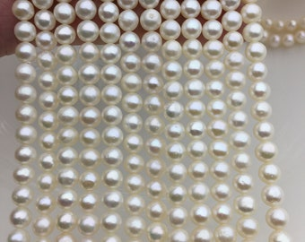 AA+ 5.5-6mm white near round freshwater pearls bead strand supply from China,loose pearl string wholesale in bulk,CR5-2A-3
