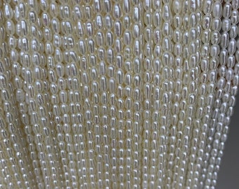 AAA 2.7-3mm white long rice pearls,full strand,oval loose pearl beads,diy pearl,genuine pearl,Cultured pearl,diy pearl beads,LR2-3A-21