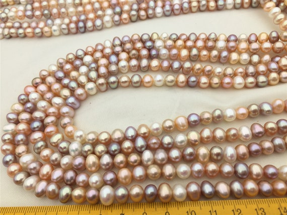 Genuine Cultured Pearls 7mm Natural Peach Potato Freshwater Pearl Beads #657