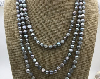 70'' AA 8x9mm gray nugget pearl Necklace,NPN1-105