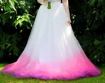 eafcb8cc259 Ombre Wedding Skirt - Pink Ombre Wedding Skirt - Ivory Wedding Skirt -  Modest Wedding Dress - Pink   Purple Ombre Skirt - Dip Dyed Skirt