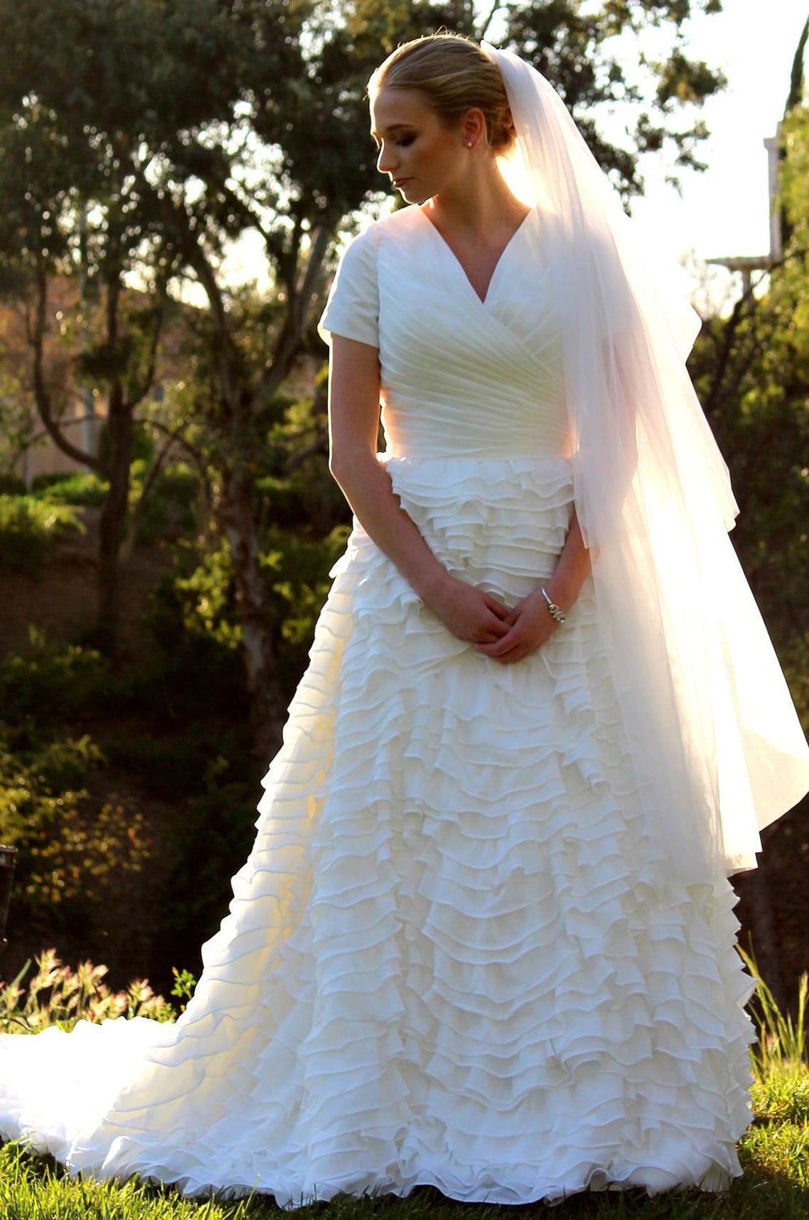 Modest Wedding Dress Wedding Dress With Sleeves Custom Etsy