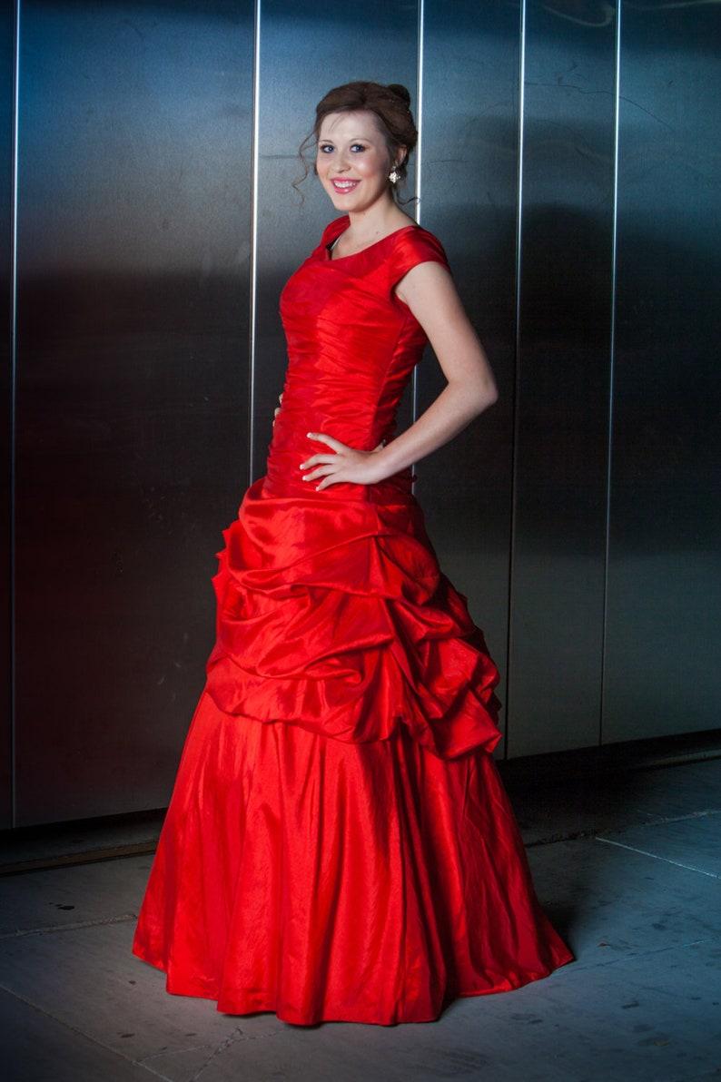 1c7f8531f50e Katniss Modest Prom Dress Red Modest Prom Dress Prom Dress | Etsy