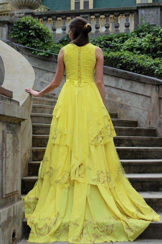 Belle 2017 Dress Belle Gold Ballgown Beauty The Beast Etsy