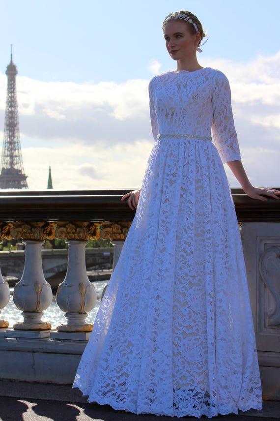 Modest Wedding Dress Tznius Modest Wedding Dress with | Etsy