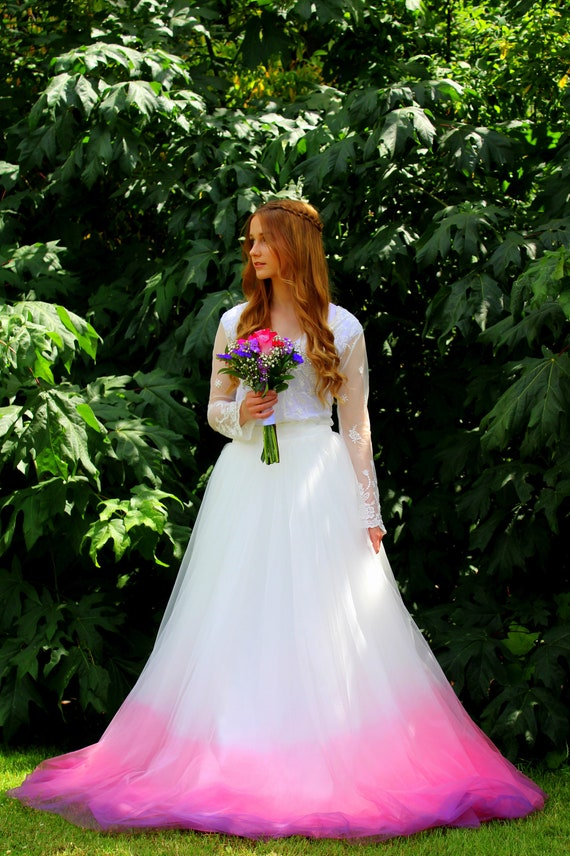 Ombre Wedding Skirt - Pink Ombre Wedding