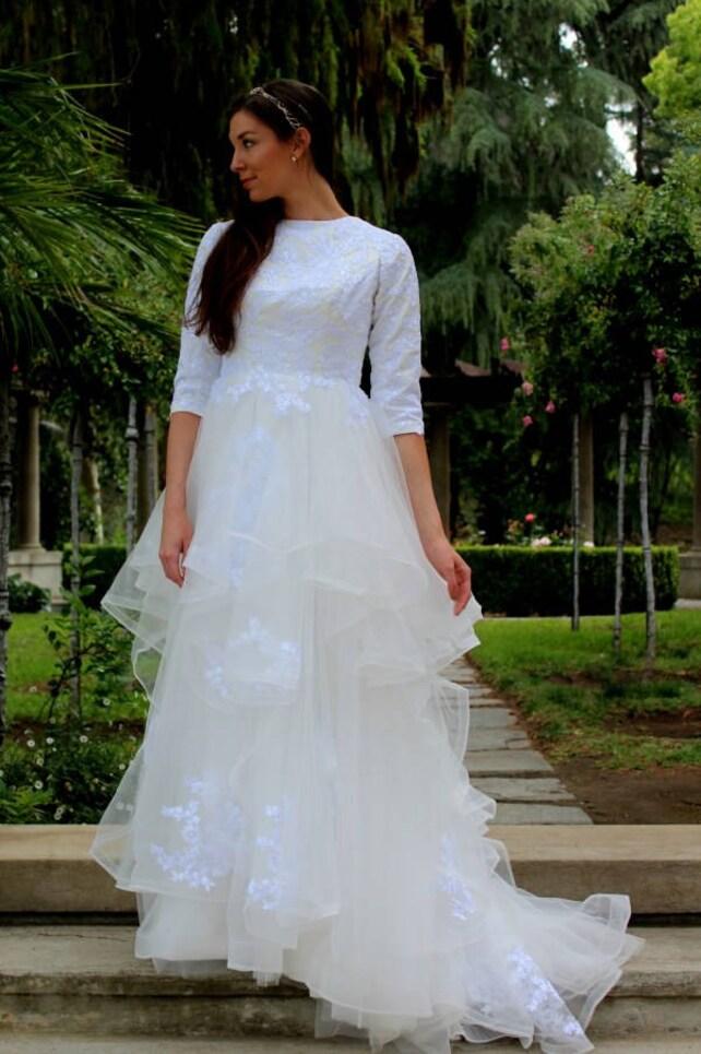 Modest Wedding Dress Tznius Modest Wedding Dress Modest | Etsy
