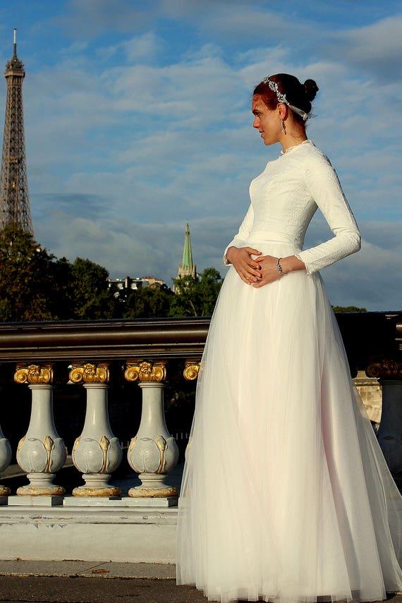 Modest Wedding Dress Tznius Modest Wedding Dress Custom | Etsy