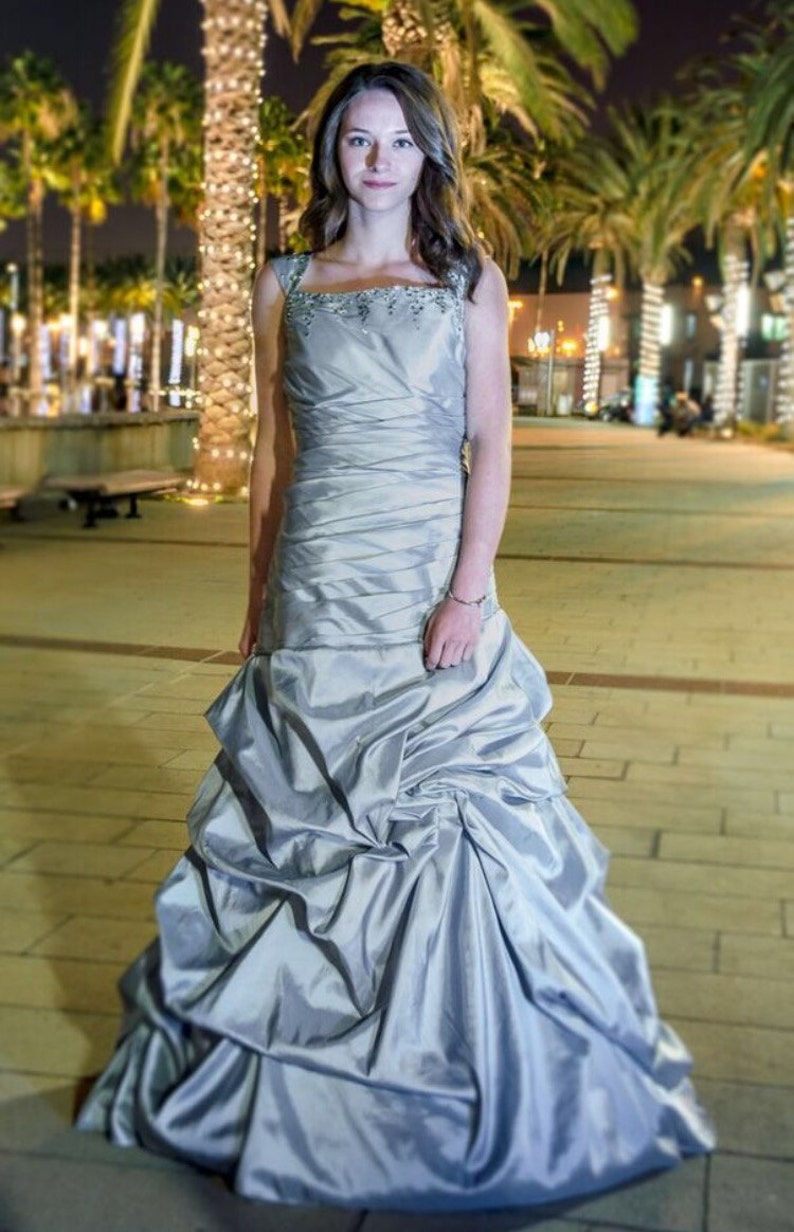 86e8b89b143f Amy Modest Prom Dress Silver Modest Prom Dress Prom Dress | Etsy