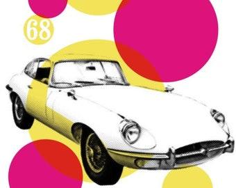 Jaguar E-Type Stylish Graphic Pop Art Print by Art & Hue - Jag Classic Car