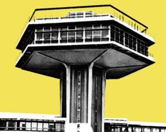 Forton Services Stylish Graphic Pop Art Print by Art & Hue - M6 Motorway Service Station 1965 near Bailrigg Lancaster Classic Car