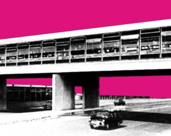 Charnock Richard Services Stylish Graphic Pop Art Print by Art & Hue, M6 Motorway Service Station 1963 between Wigan and Preston Classic Car