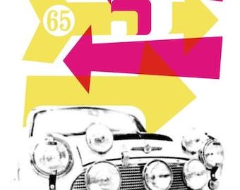 Mini Cooper Stylish Graphic Pop Art Print by Art & Hue - Austin Seven Morris Cooper Classic Car