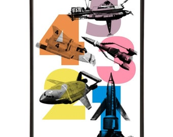 54321 Pop Art Print of all five Thunderbird crafts - from Thunderbirds the iconic Gerry Anderson Supermarionation cult TV show
