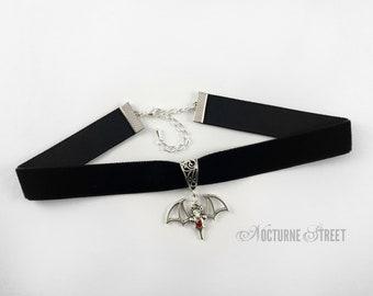 Black Velvet Choker with Bat Charm - Bat Choker, Bat Jewelry, Goth Choker, Gothic Choker, Gothic Jewelry, Goth Jewelry, Gothic Jewellery