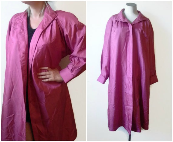 Vintage 80's Dusty Rose Pink Trench Coat Jacket Wo