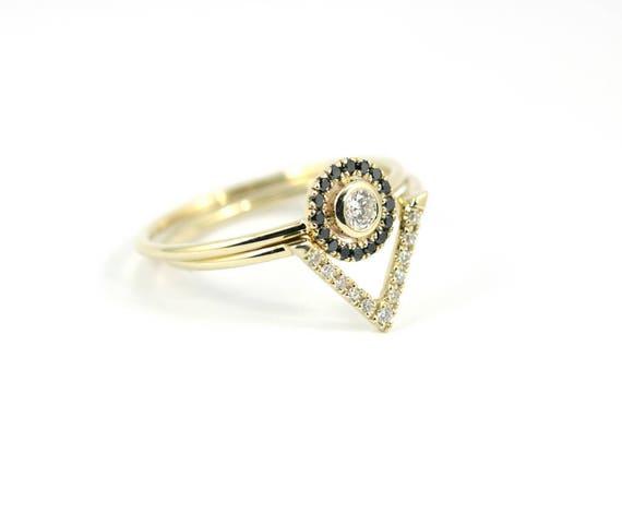 bague diamant noir et diamant