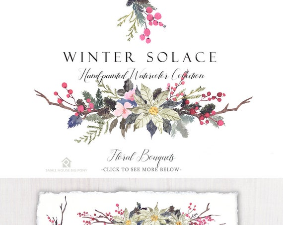Watercolour Flower Clip Art Collection - Hand Painted Graphics,  poinsettia flower, flower bouquet - Winter Solace Bouquets