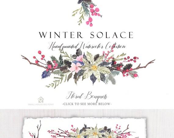 Watercolour Flower Clip Art Collection - Hand Painted Graphics,  poinsettia flower, flower bouquet - Winter Solace Bouquets