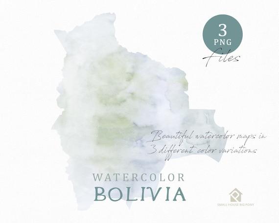 Bolivia Map, Watercolor Map, Instant Download, Digital Map, Map Clipart, Wall Art, Color Map Clip Art, Custom Map, Watercolor Map