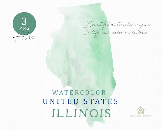Illinois Map, Watercolor Map, Digital Map, Map Clipart, Wall Art, Color Map Clip Art, Custom Map, Watercolor Map