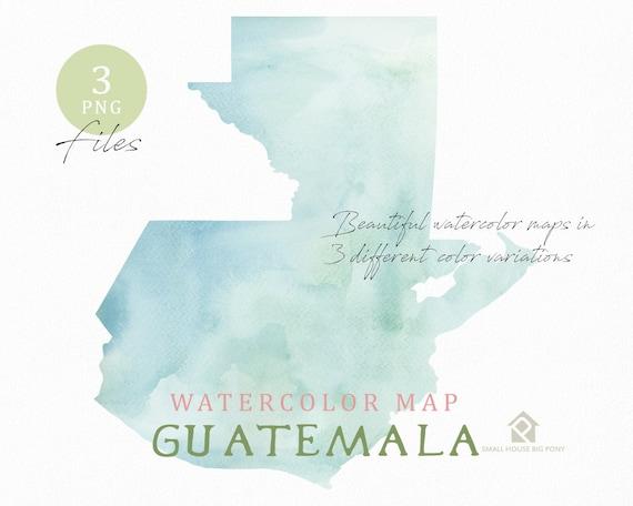 Guatemala Map, Watercolor Map, Instant Download, Digital Map, Map Clipart, Wall Art, Color Map Clip Art, Custom Map, Watercolor Map
