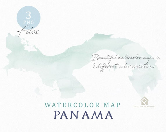 Panama Map, Watercolor Map, Instant Download, Digital Map, Map Clipart, Wall Art, Color Map Clip Art, Custom Map, Watercolor Map