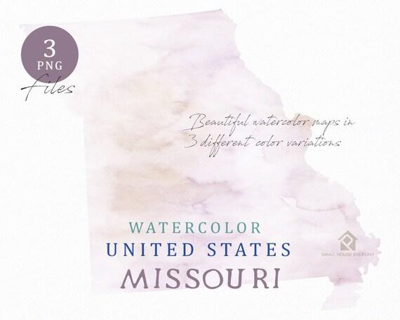 Missouri Map, Watercolor Map, Digital Map, Map Clipart, Wall Art, Color Map Clip Art, Custom Map, Watercolor Map