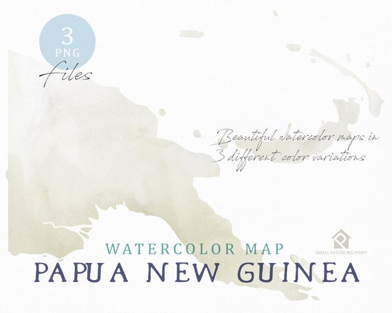 Papua New Guinea Map, Watercolor Map, Instant Download, Digital Map, Map Clipart, Wall Art, Color Map Clip Art, Custom Map, Watercolor Map