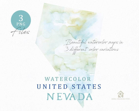 Nevada Map, Watercolor Map, Digital Map, Map Clipart, Wall Art, Color Map Clip Art, Custom Map, Watercolor Map