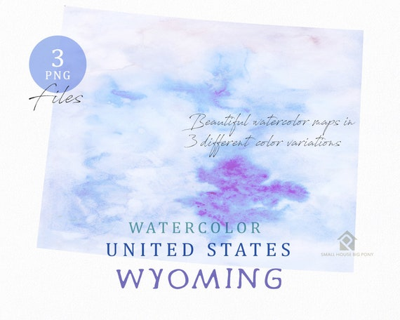 Wyoming Map, Watercolor Map, Digital Map, Map Clipart, Wall Art, Color Map Clip Art, Custom Map, Watercolor Map