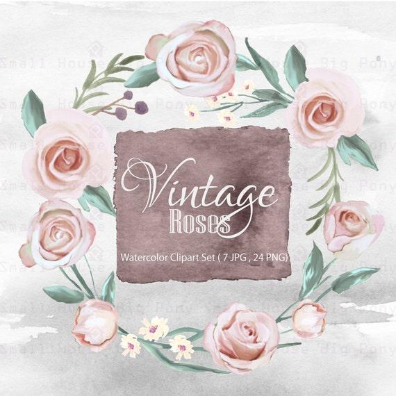 Digital Clipart- Watercolor Flower Clipart, Vintage Rose Clip art, Floral Bouquet Clipart, wedding flowers clip art