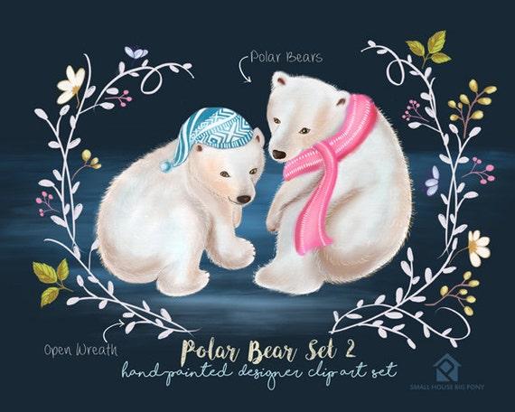 Digital Clipart- Watercolor Flower Clipart, polar bear Clip art, Floral Bouquet Clipart- Polar Bear Set 2