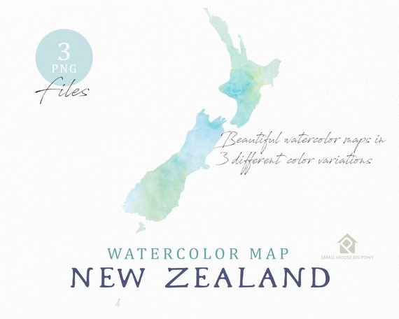 New Zealand Map, Watercolor Map, Instant Download, Digital Map, Map Clipart, Wall Art, Color Map Clip Art, Custom Map, Watercolor Map