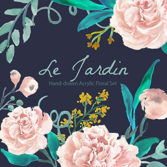 Floral Clipart Wedding Floral Clip Art Hand Drawn Watercolor Flowers Clipart Flower Floral Clip Art ,Scrapbooking,Roses, Peonies