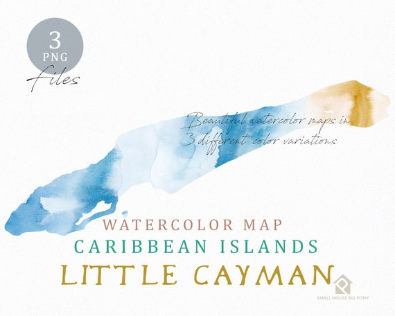 Little Cayman Map, Watercolor Map, Instant Download, Digital Map, Map Clipart, Wall Art, Color Map Clip Art, Custom Map, Watercolor Map
