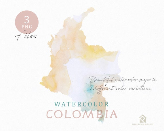 Colombia Map, Watercolor Map, Instant Download, Digital Map, Map Clipart, Wall Art, Color Map Clip Art, Custom Map, Watercolor Map
