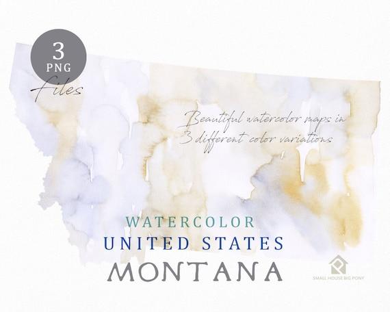 Montana Map, Watercolor Map, Digital Map, Map Clipart, Wall Art, Color Map Clip Art, Custom Map, Watercolor Map