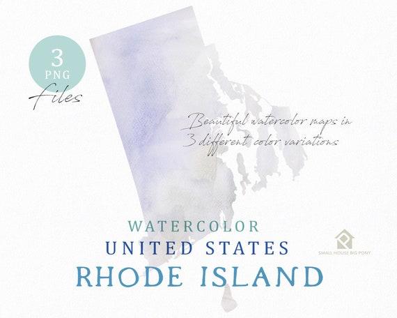 Rhode Island Map, Watercolor Map, Digital Map, Map Clipart, Wall Art, Color Map Clip Art, Custom Map, Watercolor Map